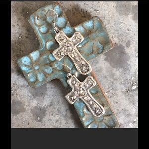 BEAUTIFUL FREE FORM CROSS EARRINGS with CRYSTALS